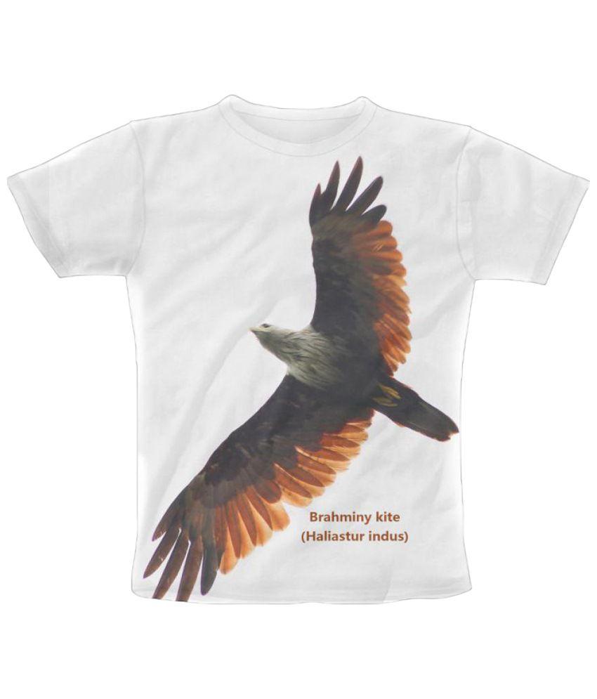 Freecultr Express Brahminy Kite Graphic White & Black Half Sleeve T Shirt