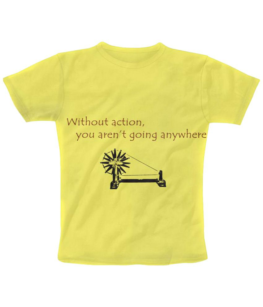 Freecultr Express Gandhi Graphic Yellow & Black Half Sleeve T Shirt
