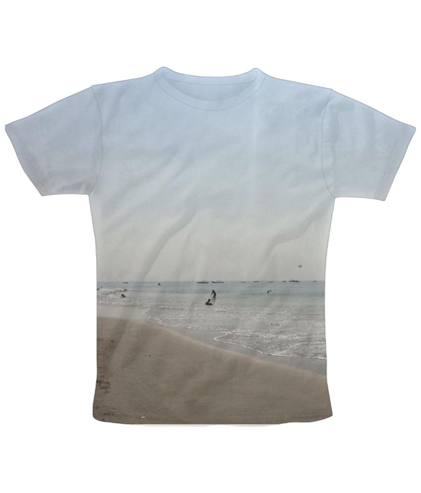 Freecultr Express Landscape Beach Graphic Blue & Beige Half Sleeve T Shirt