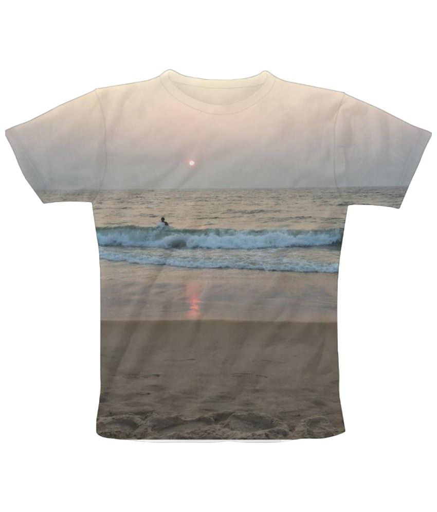 Freecultr Express Sun Reflection Graphic Beige Half Sleeve T Shirt