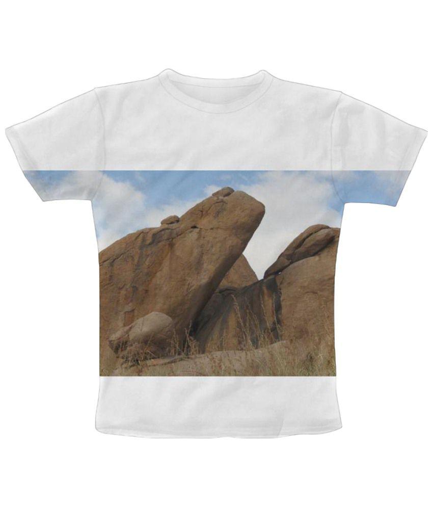 Freecultr Express White Rocks Graphic Print Half Sleeve T Shirt