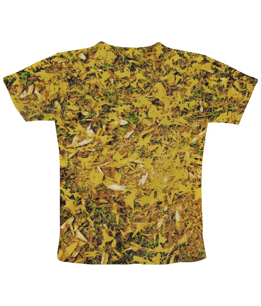 Freecultr Express Yellow Flower Graphic Green Half Sleeve T Shirt