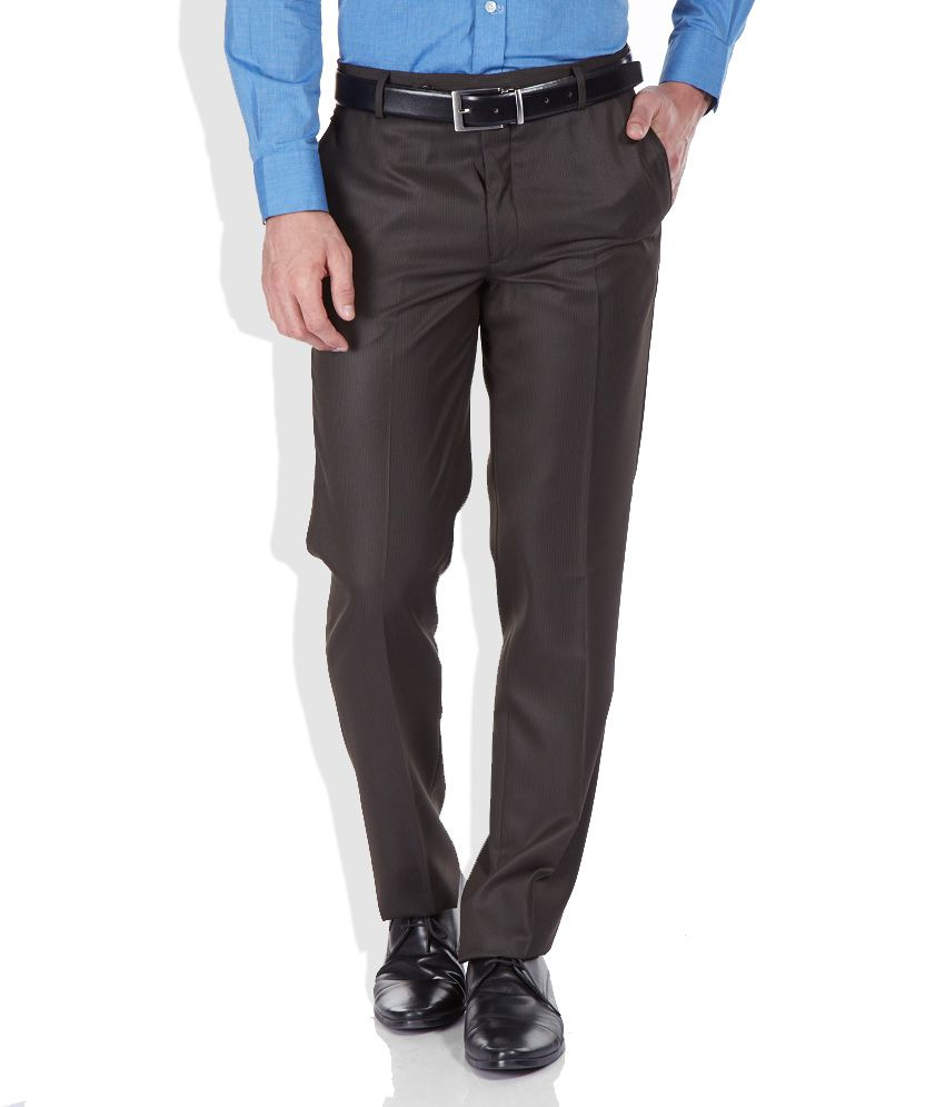 Wills Lifestyle Brown Poly Viscose Formals Trousers