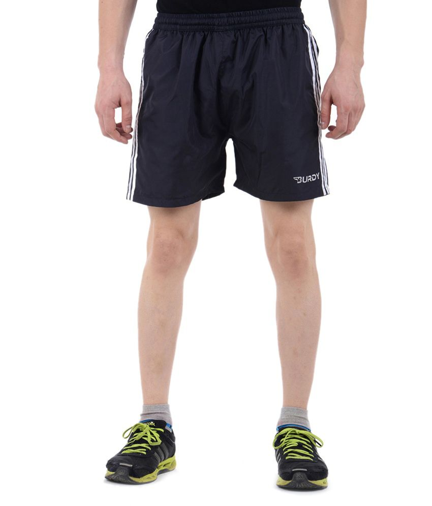 Burdy Blue Polyester Shorts With Net