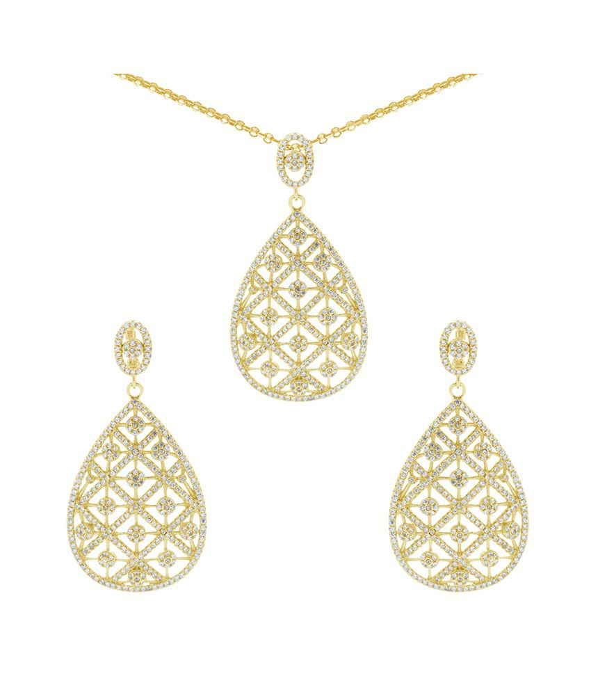 Gemtogems 92.5 Sterling Silver Heavenly Pears Necklace Set