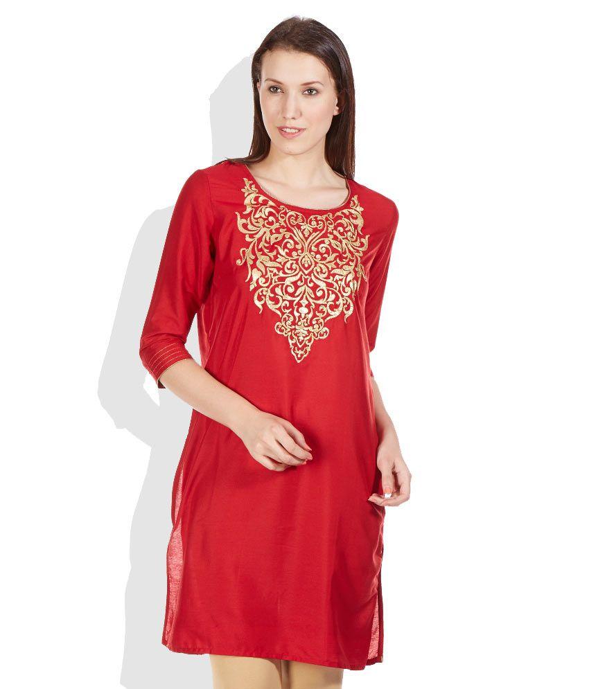 Melange Red Printed Kurta