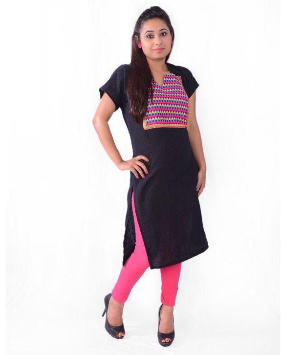 Vama Black And Pink Cotton Half Sleeves Patch Kurti