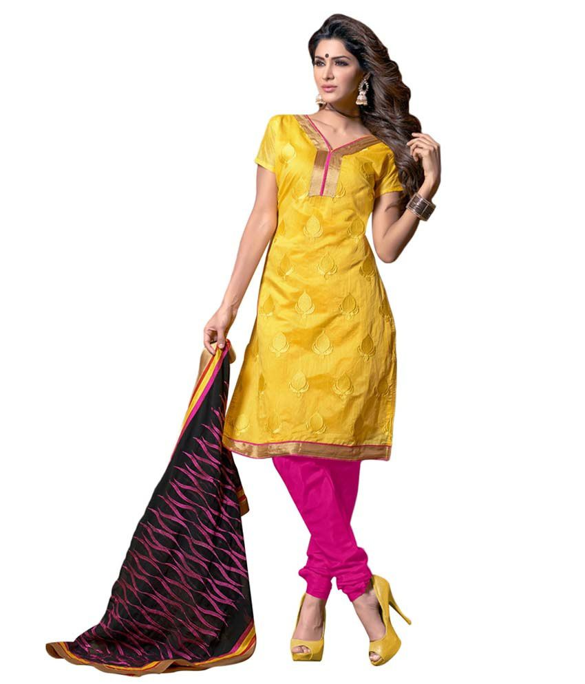 Lineysha Boutique Yellow Chanderi Unstitched Dress Material