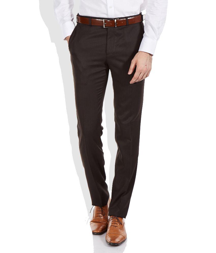 Raymond Brown Slim Fit Formal Trousers
