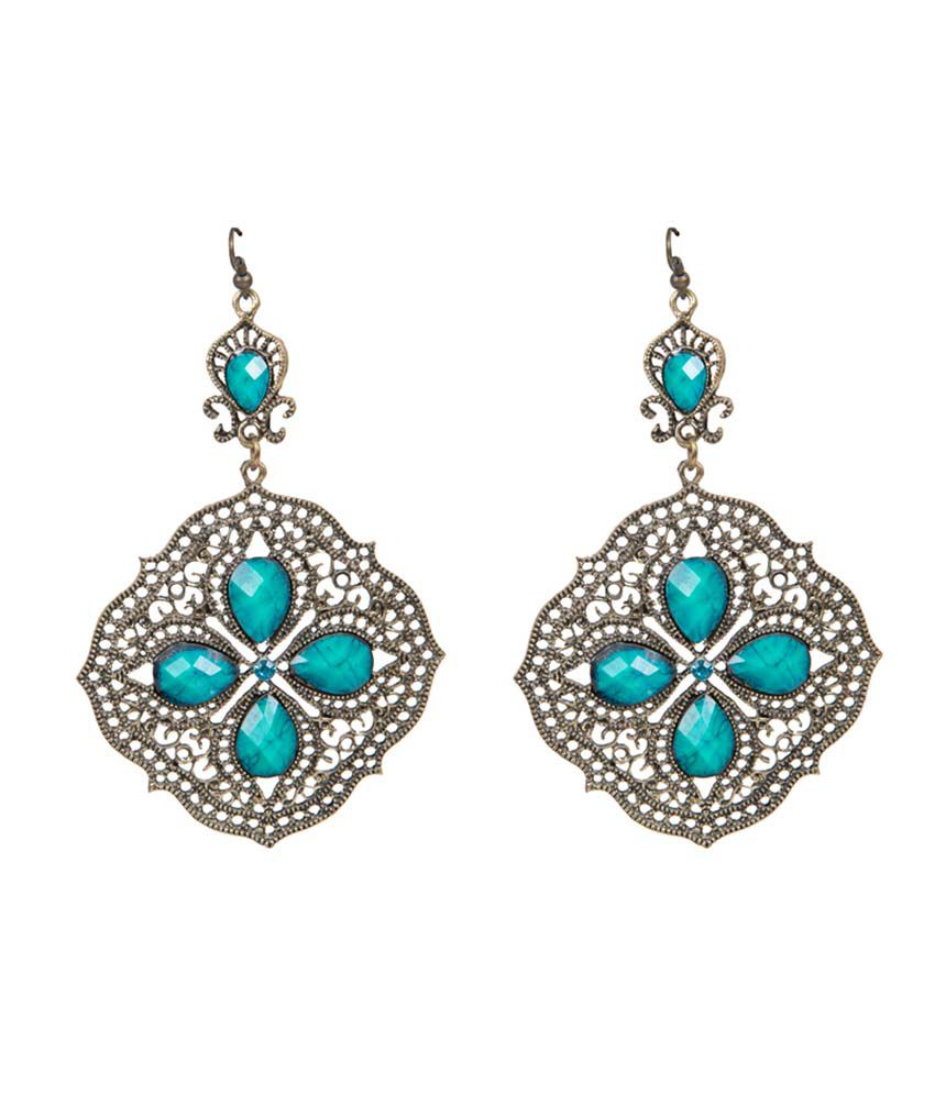 Taj Pearl Blue Fashion Drop Earrings