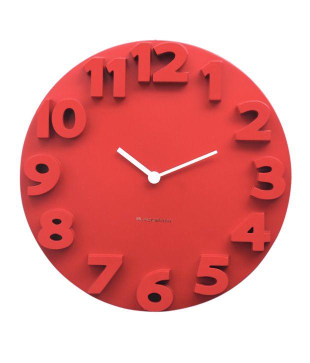Blacksmith Contemporary Red Wall Clock: Buy Blacksmith ...
