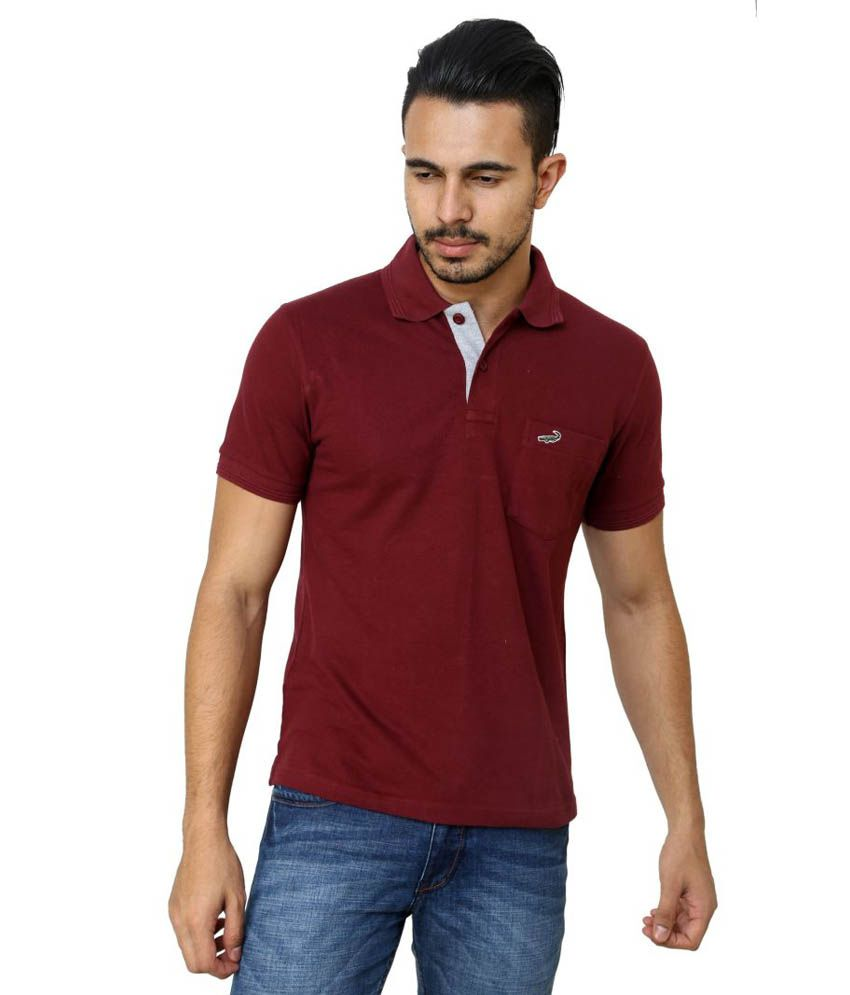 6d866432 Crocodile Maroon Cotton Polo T Shirt - Buy Crocodile Maroon Cotton Polo T Shirt  Online at Low Price - Snapdeal.com