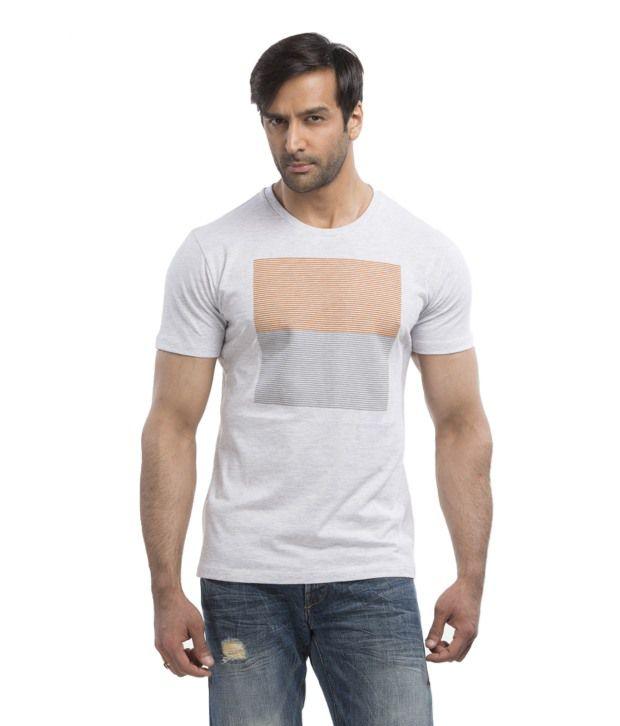 Cult Fiction Grey Cotton Round T Shirt