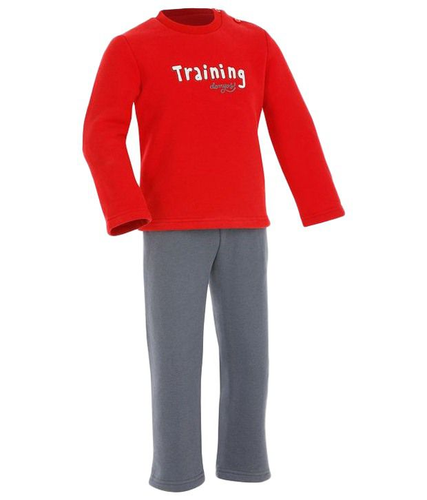 Domyos Red & Dark Gray Baby Tracksuit For Boys