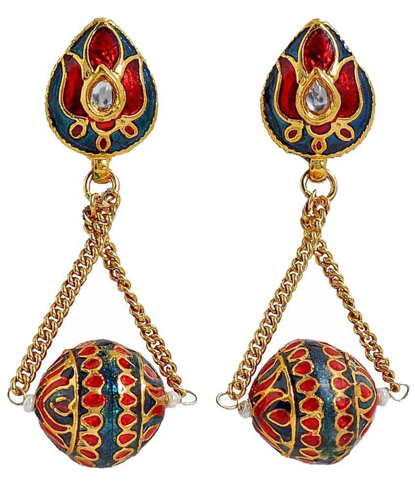 Maayra Blue & Red Crystal Drop Earrings