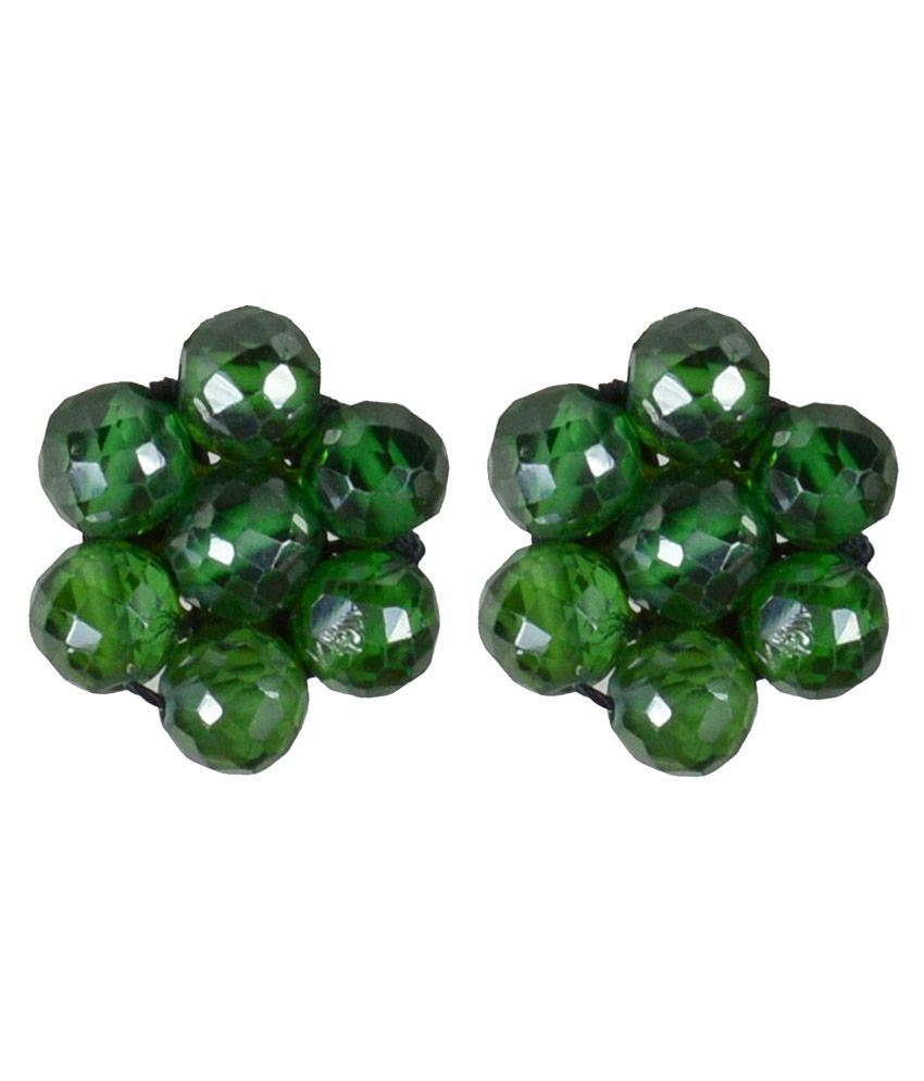 Pearl Paradise Green Alloy Stud Earrings
