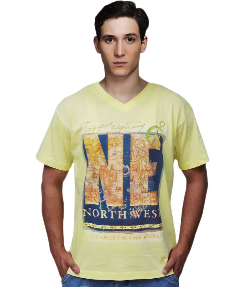 Port Blair Yellow Cotton V-Neck Try Your Right Way, North East Graphic T-Shirt