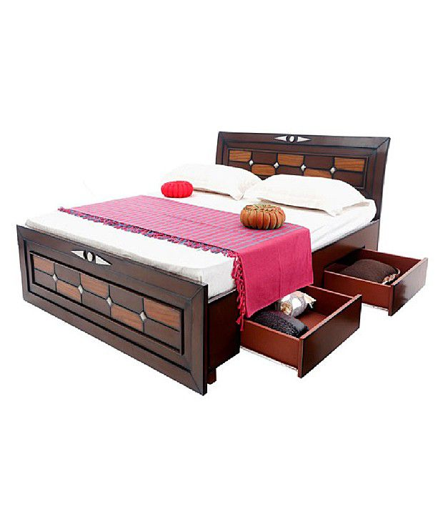 solid wood double bed with storage buy solid wood double bed rh snapdeal com