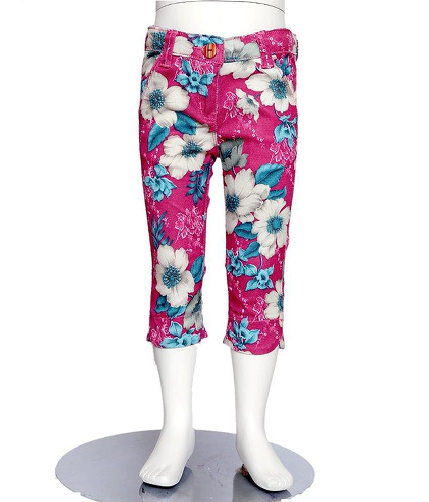 Tales & Stories Pink Printed Cotton Capris