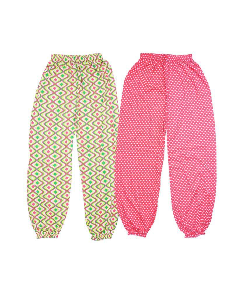 Bodymate Multicolor Cotton Printed Capris For Girls - Pack Of 2