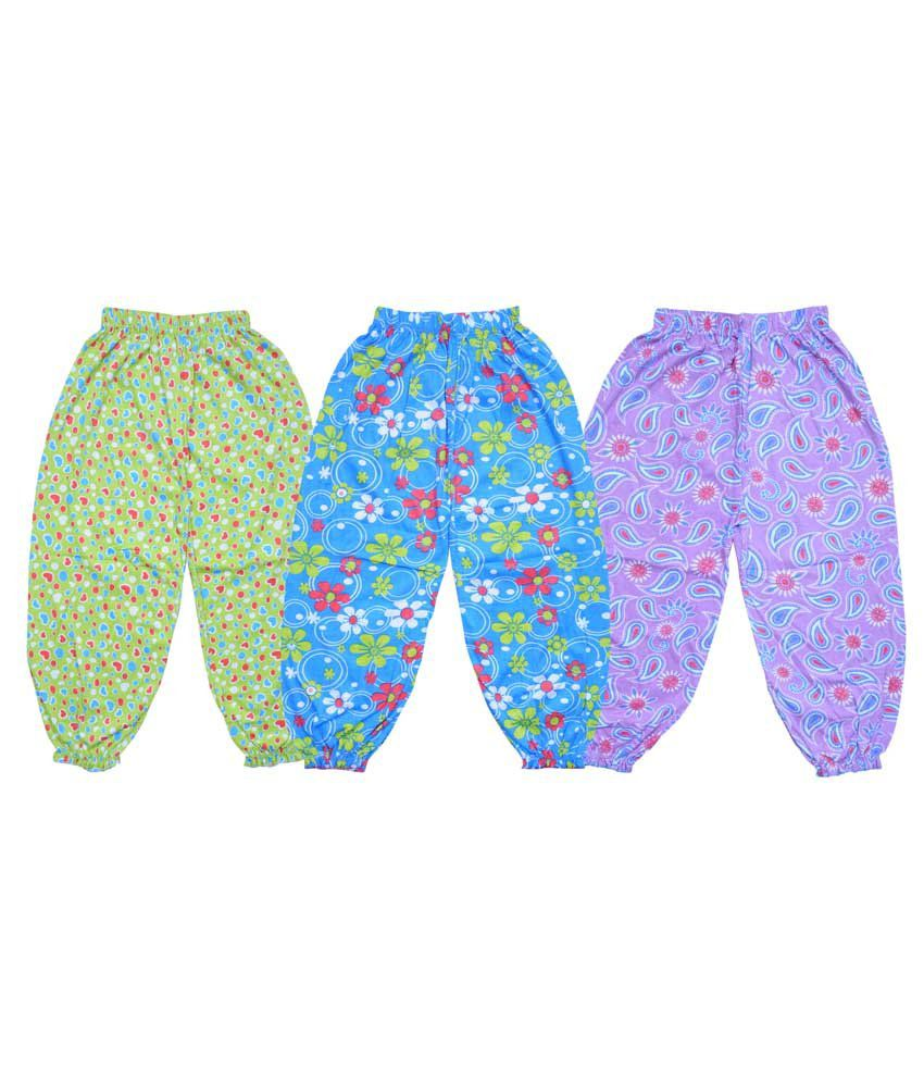 Bodymate Multicolor Cotton Printed Capris For Girls - Pack Of 3