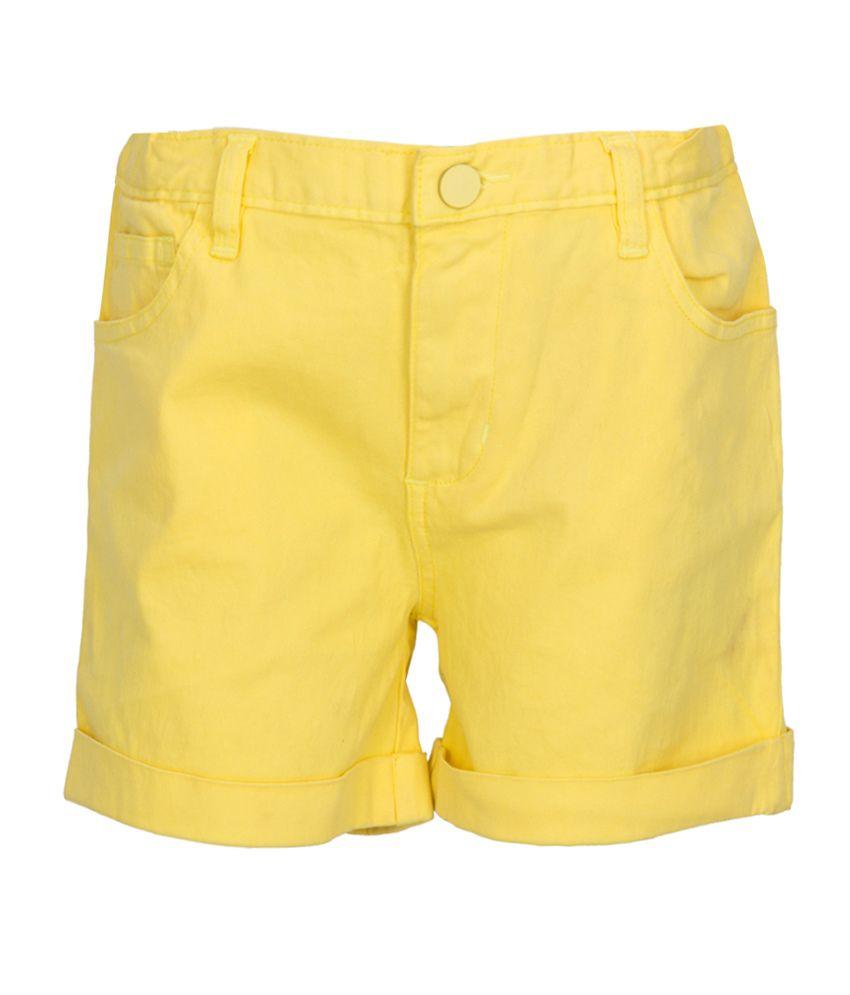 Miss Alibi Yellow Cotton Shorts