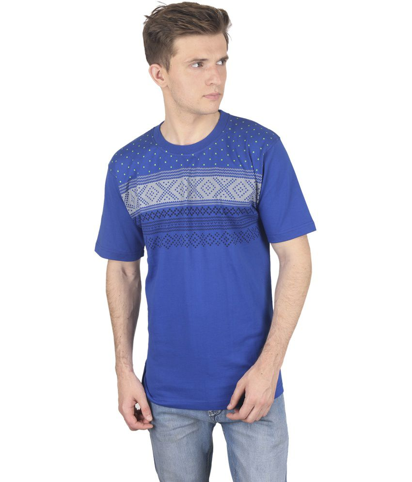 Stylogue Royal Blue Polka Print Cotton Blend T-shirt