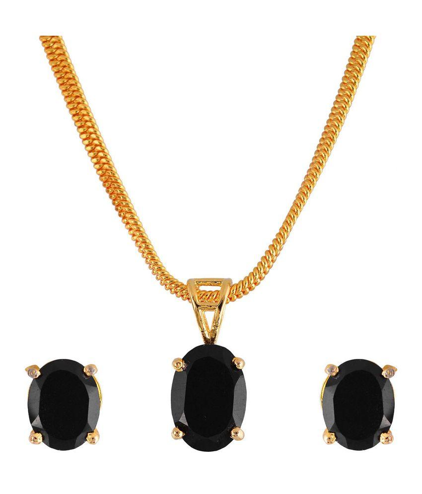 Black Stone Earrings: Weldecor Black Stone Pendant Set With Earrings For Women