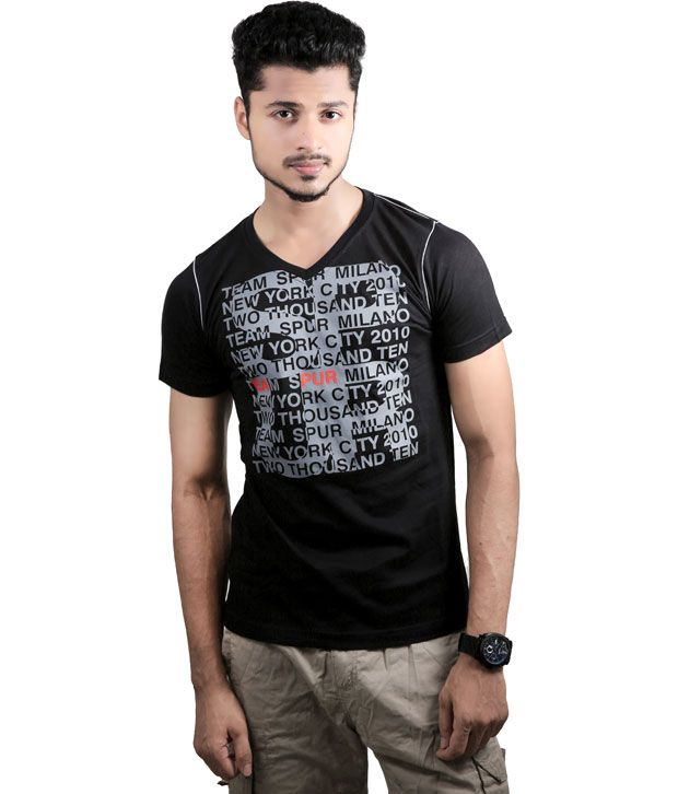 Spur Black Cotton V-neck T- Shirt