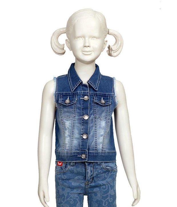 Tales & Stories Blue Denim Sleeveless Jacket For Kids