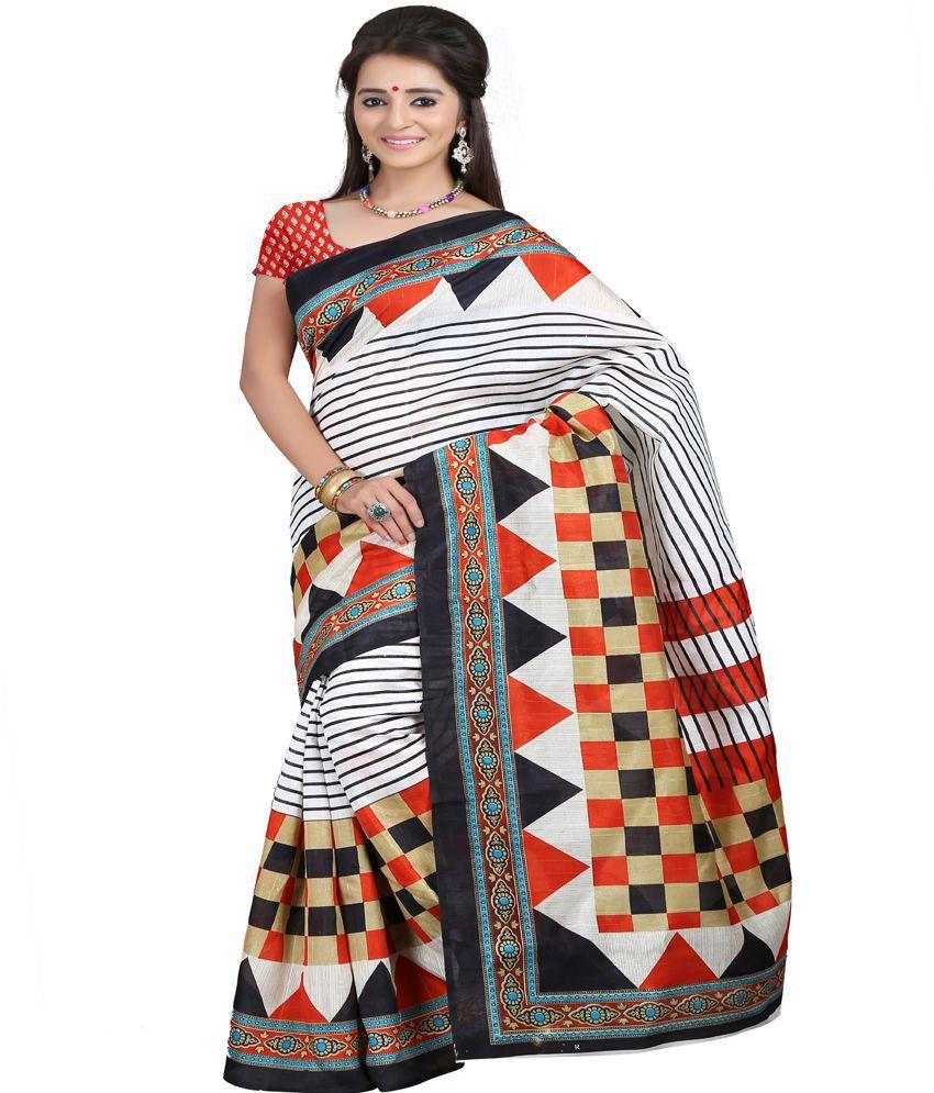 Ansu Fashion-Surat Multi Color Bhagalpuri Silk Printed Saree With Blouse Piece