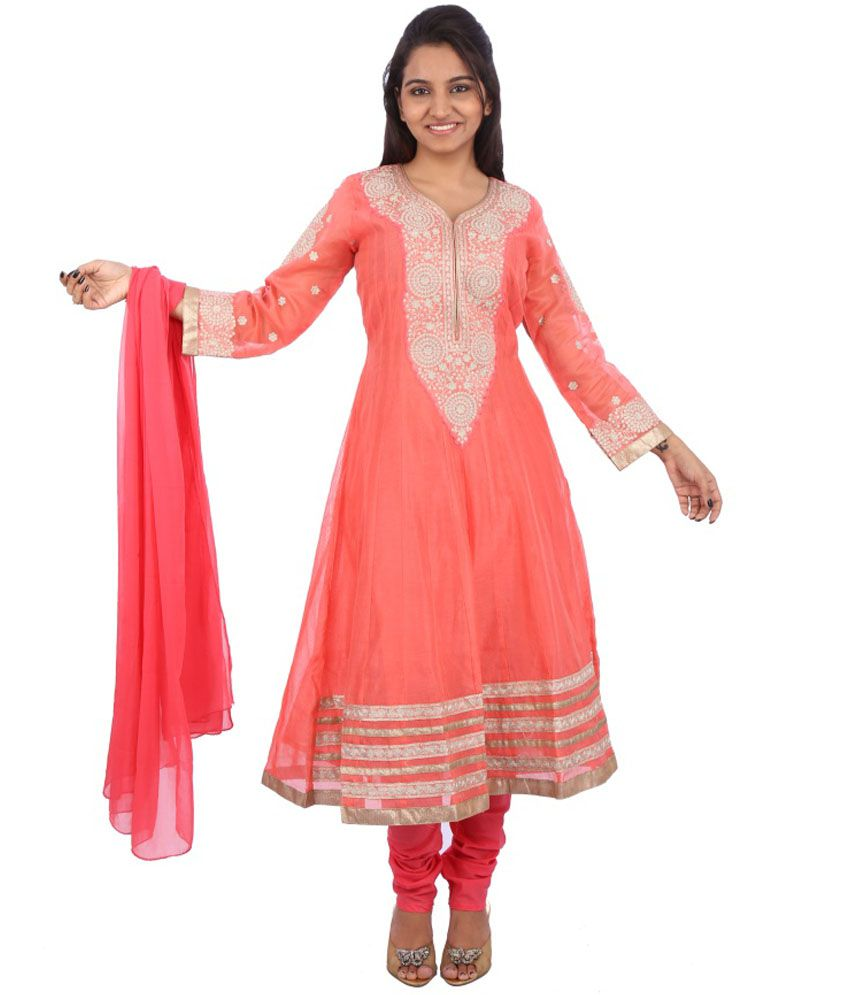Galaxy Apparels Peachpuff Embroidered Anarkali Salwar Suit