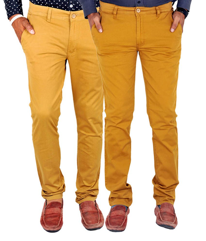 INDIGEN Classic Beige & Brown Casual Chinos (Pack of 2)