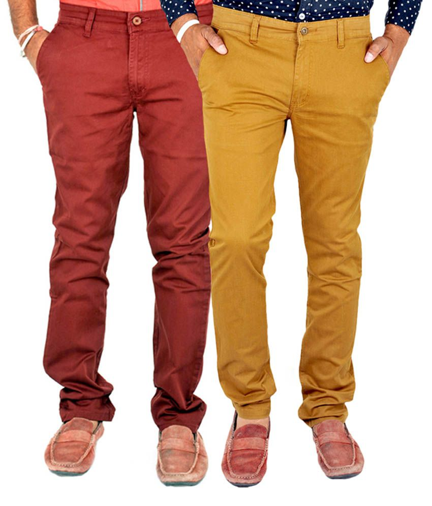 INDIGEN Red & Khaki Casual Chinos (Pack of 2)