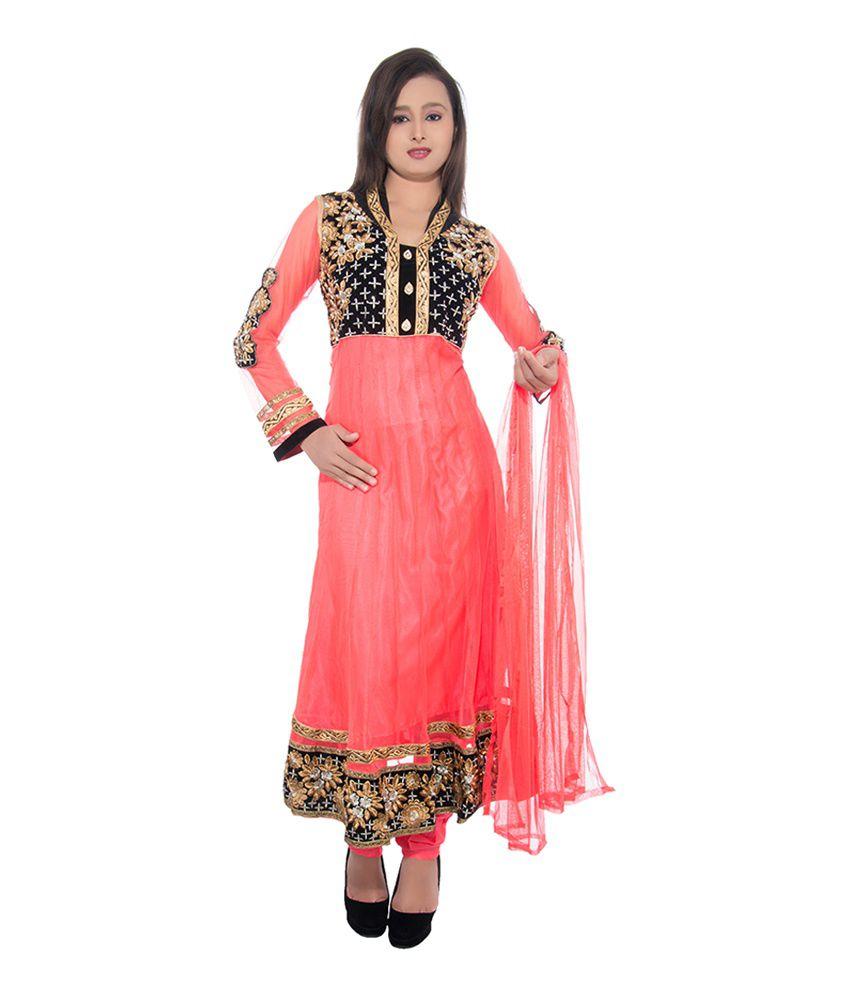 Jm Luxury Red Embroidered Net Anarkali Salwar Suit