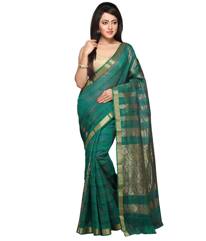 Pratami Green Chettinad Silk Saree With Blouse Piece