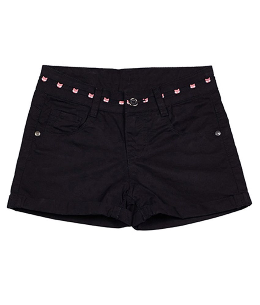 UCB  Black Solid Shorts For Kids