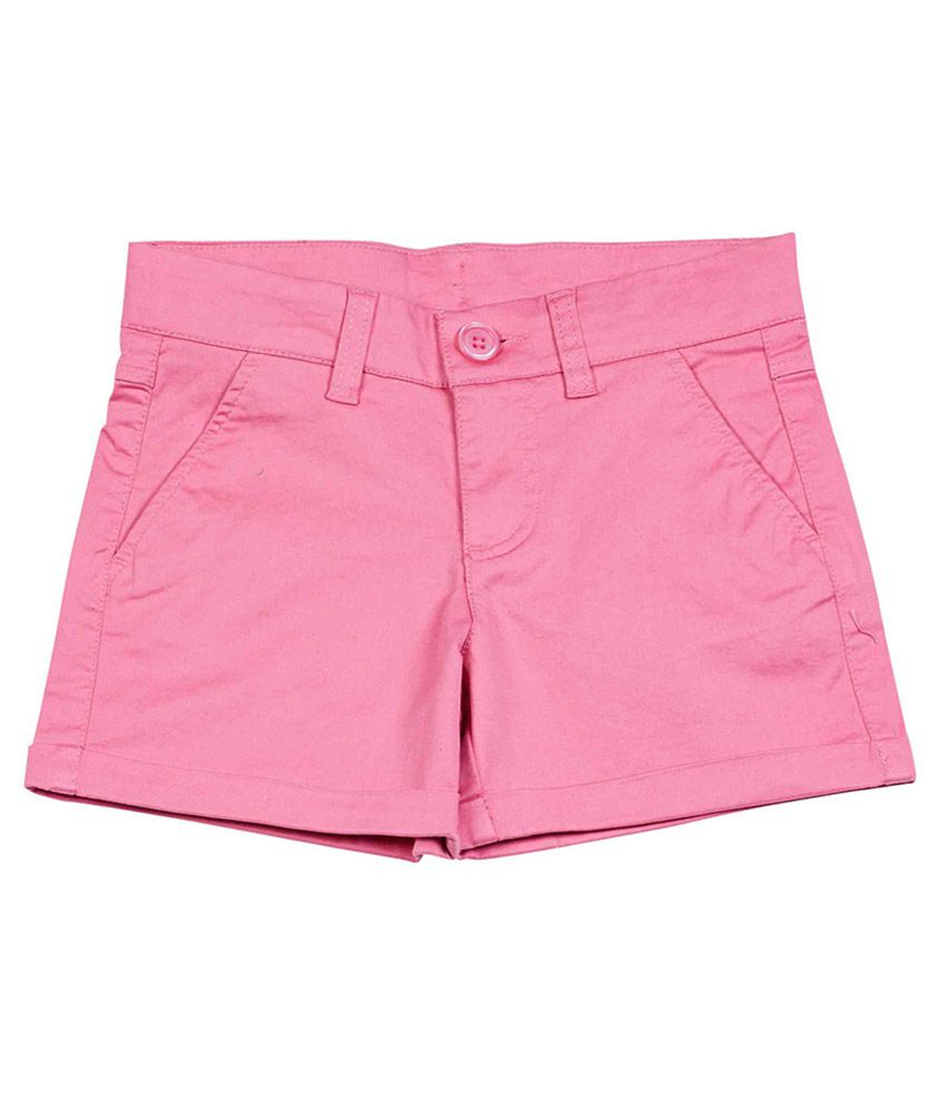 UCB  Pink Solid Shorts For Kids