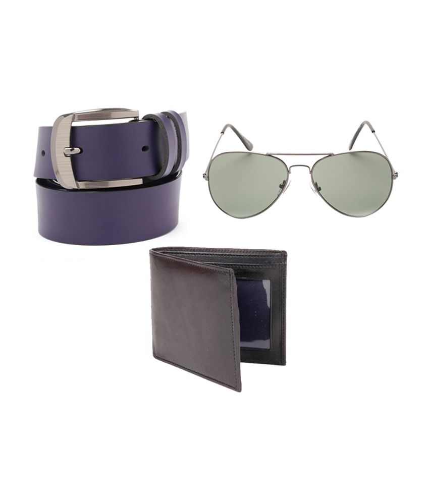 Fedrigo Purple Casual Belt with Wallet & Sunglasses - Combo