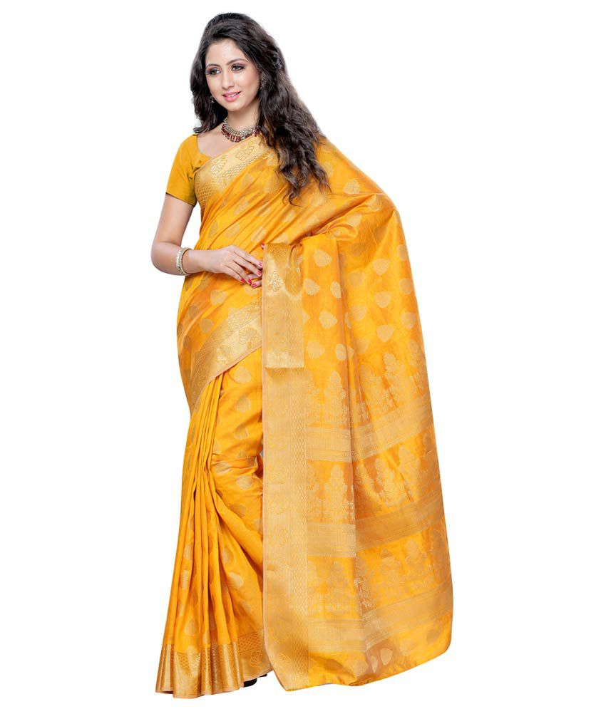 722c9a36c2 Mimosa Yellow and Beige Tussar Silk Banarasi Saree With Blouse Piece - Buy  Mimosa Yellow and Beige Tussar Silk Banarasi Saree With Blouse Piece Online  at ...