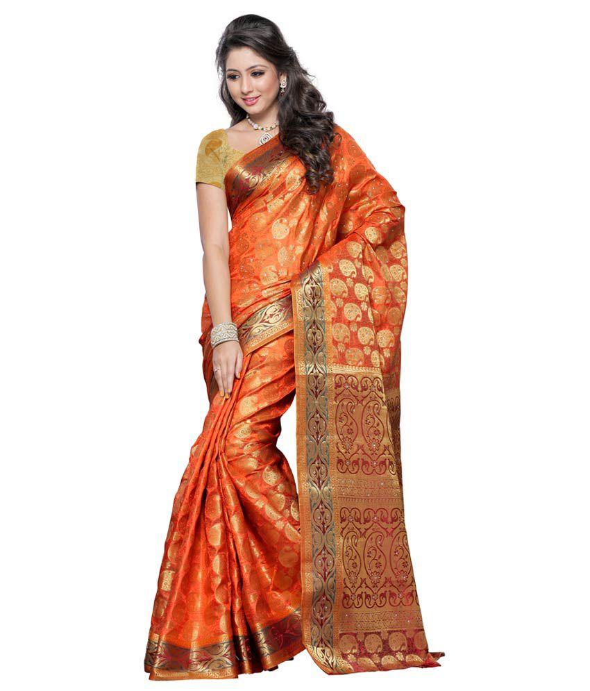 beb728b39d Mimosa Maroon Tussar Silk Banarasi Saree With Blouse Piece - Buy ...