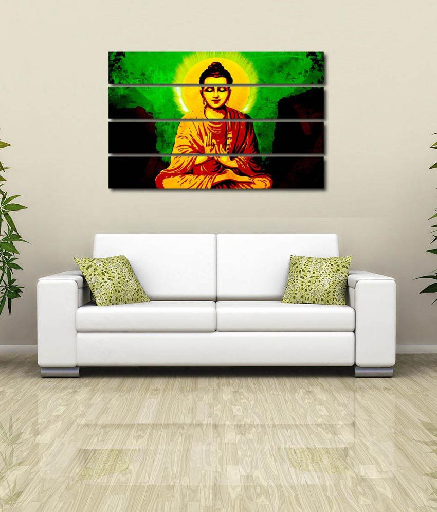 999store Glossy Printed Buddha Design Like Modern Wall Art Painting With Frame - 4 Frames