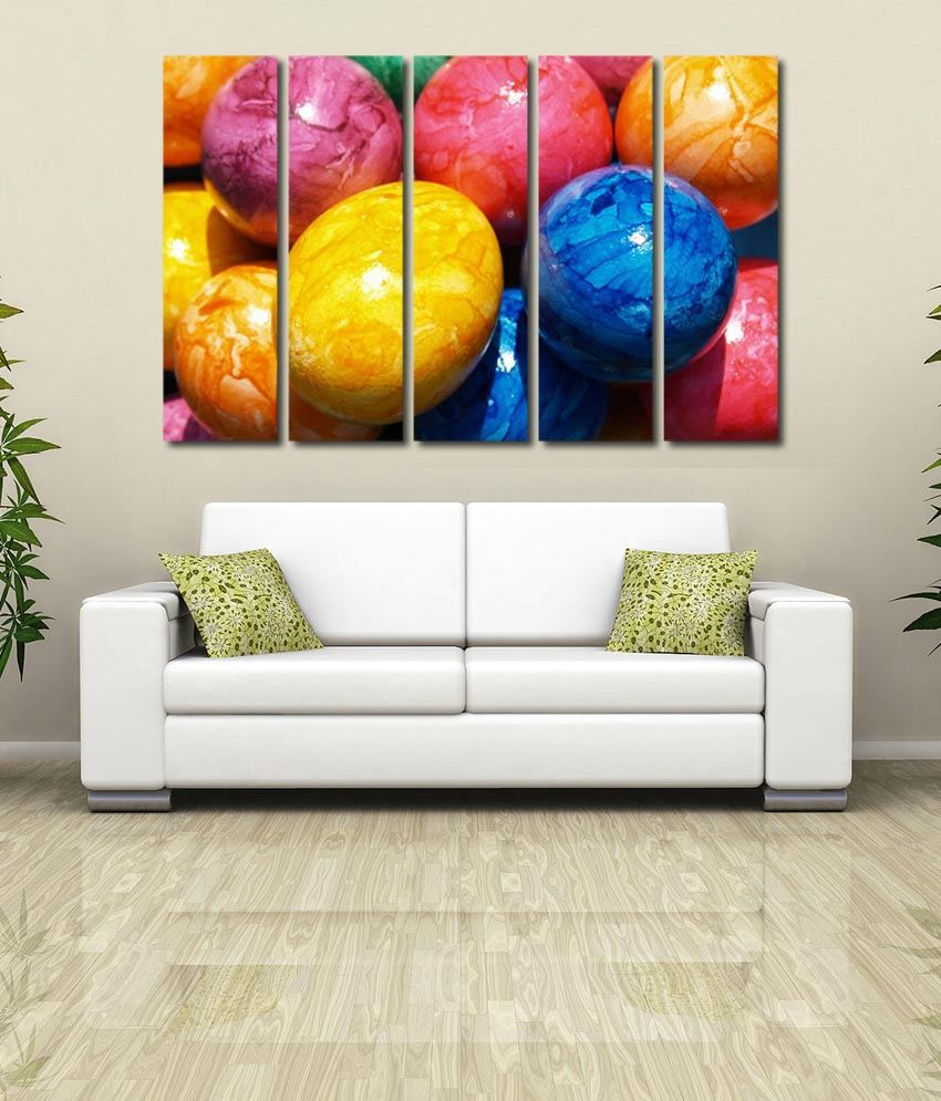 999store Glossy Printed Colouful Eggs Like Modern Wall Art Painting With Frame - 5 Frames