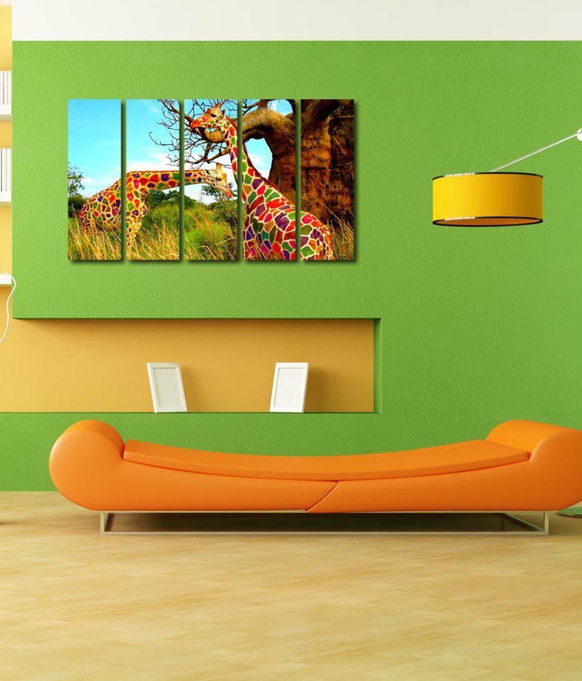999store Glossy Printed Colourful Girafee Like Modern Wall Art Painting With Frame - 5 Frames