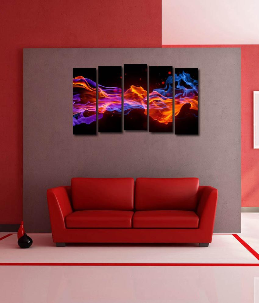 999store Glossy Printed Colours Like Modern Wall Art Painting With Frame - 5 Frames