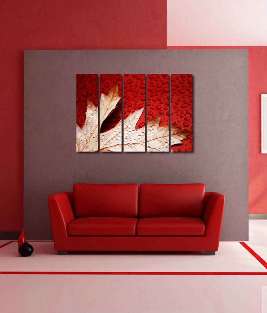 999store Glossy Printed Flower Leaves Like Modern Wall Art Painting With Frame - 5 Frames