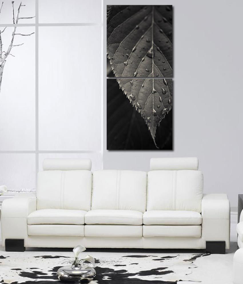 999store Glossy Printed Leaf Like Modern Wall Art Painting With Frame -2 Frames