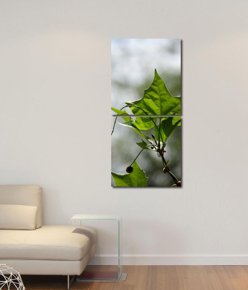 999store Glossy Printed Leafs Like Modern Wall Art Painting With Frame -2 Frames