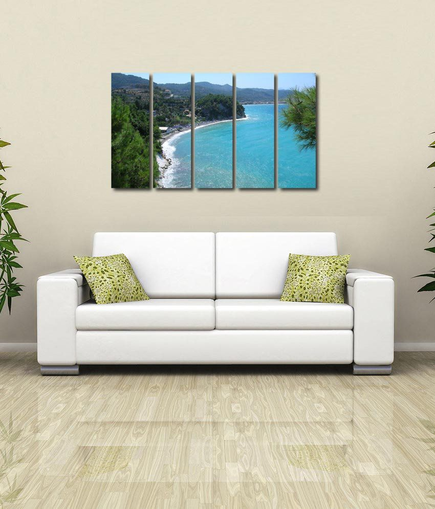 999store Glossy Printed Sea Shore Like Modern Wall Art Painting With Frame - 5 Frames