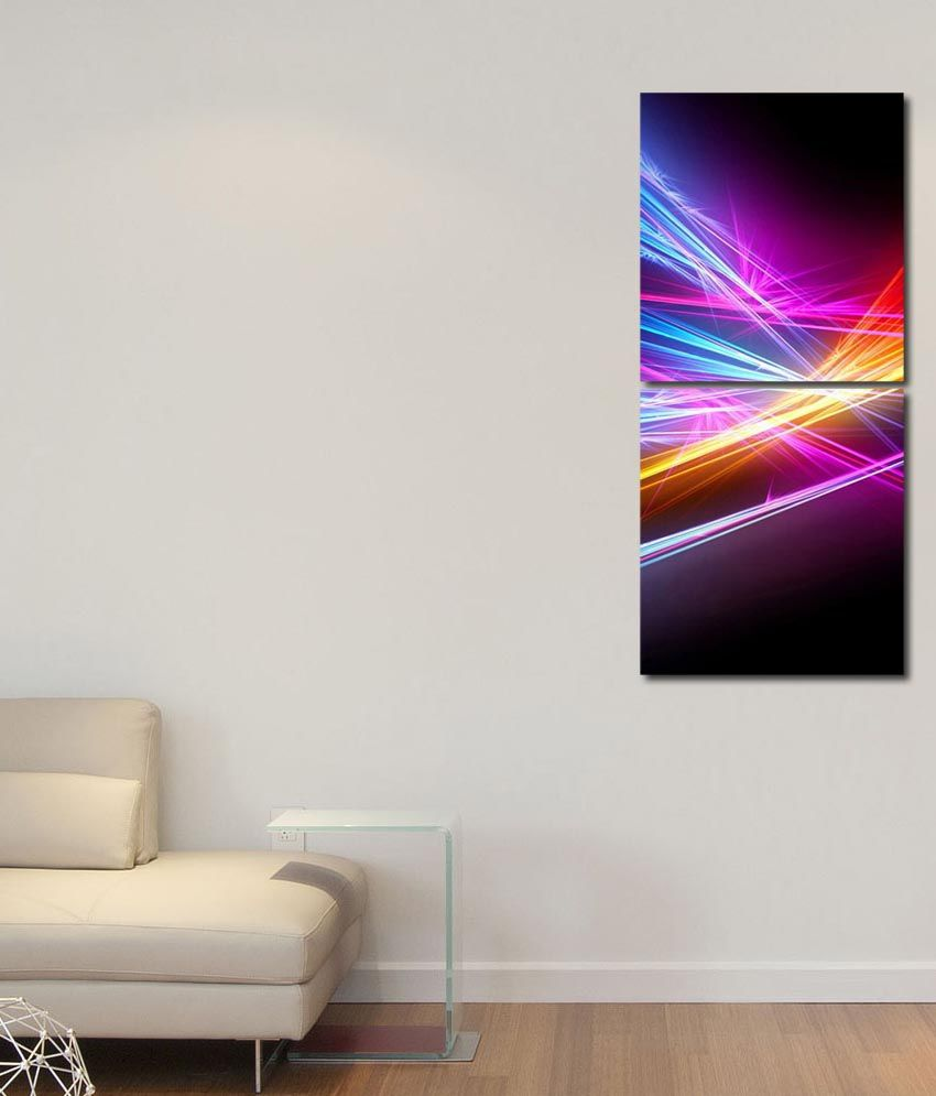 999store Glossy Printed Spectrums Wall Art Painting With Frame -2 Frames
